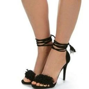 Steve Madden Sassey Black Suede Ankle Tie heels